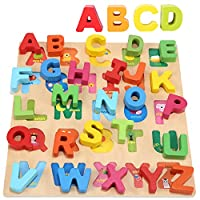 Jacootoys Wooden Alphabet Puzzle ABC Chunky Puzzle Board Early Learning Educational Toys Gift for Kids