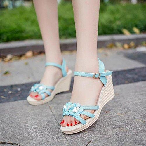 DM&Y 2017 Chaussures d'¨¦t¨¦ mode femme haute talons des sandales de pente avec des sandales casual les poissons t¨ºte femmes days blue