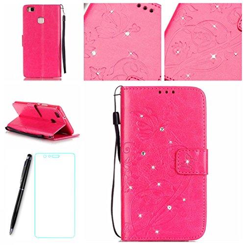 Lotuslnn Huawei P9 Lite Case, Kristall Strass Pave Fllip Wallet Stil Leder Tasche Etui Huawei P9 Lite Hülle Handyhülle (5.2 Zoll)-(Schutzhülle+ Stylus Stift+Screen Protector)- Schmetterling,Rose Pink