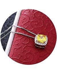 AnazoZ Collar de Mujer Colgante Plata de Ley Mujer Collar Colgante Cuadrado Cristal Colgante Collar Amarillo