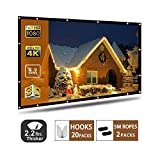 Projector Screen,120 inch Portable Projection Screen with 16:9 HD Movie Screen and Foldable for Home Cinema (120 Inch) ...