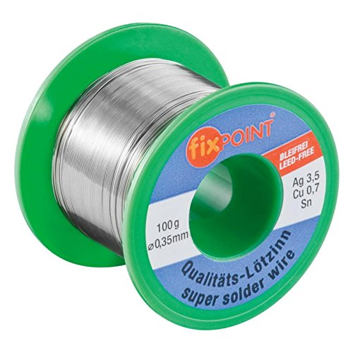 Preisvergleich Produktbild Fixpoint Lötzinn-bleifrei; 100 g Rolle / ø 0, 35 mm; No-Clean Lösung: Keine Reinigung der Lötstellen notwendig; Erstklassiges Markenlötzinn mit 3, 5% Silber