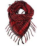 Malloom Moda unisex mujer hombre Shemagh árabe Kufiyya Palestina bufanda Mantón (rojo)
