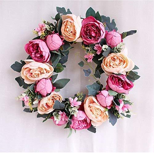 SunriseMall handgefertigter Kranz, künstliche Kunstblumen, Girlande, europäische Tür-Ornament, mit 1 Kranzhaken, für Zuhause, Party-Dekoration 15 Inch Rose