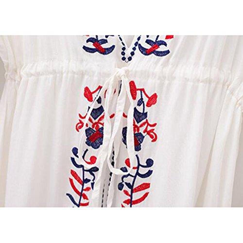 hibote Damen Boho Bikini cover up Handstickerei V-Ausschnitt StrandKleider Sommerkleid Bademode Oberteil One Size Color A