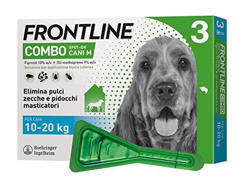 Frontline   combo spot on cani   protezione da pulci, zecche, uova e larve di pulci   3 pipette   cane m (10 - 20 kg)