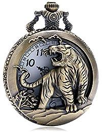 Tiger Cat 3d mitad Hunter cepillado bronce efecto envejecido/vintage caso hombres de cuarzo reloj de bolsillo collar–en 32pulgadas/80cm cadena