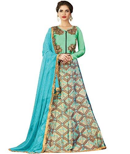 Indian Ethnicwear Bollywood Pakistani Wedding Sea Green Flare Lehenga Semi-stitched