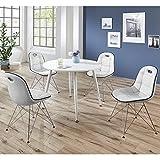 Lomado Esszimmergarnitur Komplett ● 4 Kunstleder Schalenstühle cremeweiß ● Esstisch in rot weiß mit ABS Kante ● 5-teilige Sitzgruppe