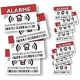 "Pegatinas disuasivas con el texto ""Alarme – Surveillance Electronique"", juego de 12 unidades"