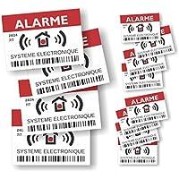Decooo.be Autocollants dissuasifs Alarme - Système électronique - Lot de 12 (4 grands de 14,8 x 10,5 cm + 8 petits de 7,4 x 5,2 cm)