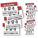 """Pegatinas disuasivas con el texto """"Alarme - Surveillance Electronique"""", juego de 12 unidades, 4 grandes de 14,8 x 10,5 cm y 8 pequeñas de 7,4 x 5,2 cm"""