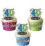 AK Giftshop giftshop AK-Aged To Perfection, zum 40. Geburtstag, essbare Cupcake-Topper/Kuchen-Dekorationen (12Stück)