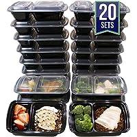 Misc Home (20er pack) 950ml Lebensmittelbehälter mit 2 Fächern wiederverwendbare Frischhaltedose