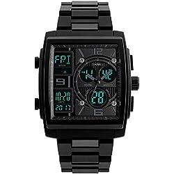 Para hombre Digital Relojes Sport impermeable militar cronómetro electrónico cronógrafo LED PU banda reloj de pulsera