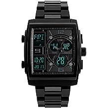 TONSHEN Multifuncional Impermeable Relojes de Hombre Analógico Cuarzo Doble Tiempo LED Digitales Electrónica 50M Resistente Agua