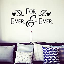 Homemay PVC pared pegatinas Inglés para nunca nunca matrimonio habitación dormitorio hogar decorativo impermeable bedwallpaper25.4cm X 61cm, negro, 25.4cm x 61cm