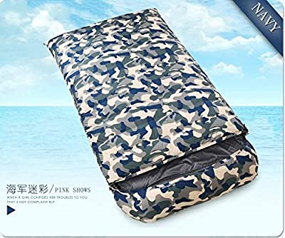ZHUDJ Down Sleeping Bag, Outdoor Fishing Room, Adult Light Double Thickening Sleeping Bag,Navy Camouflage,1200 Grams by ZHUDJ