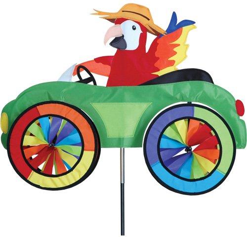Girouette Perroquet sur son vélo - moulin à vent Perroquet pour jardin, terrasse, balcon - décoration extérieure jardin - Matériau : tissu haut de gamme en polyester SunTex renforcé, structure en fibre de verre. Résiste aux UV et intempéries, Diamètre des roues : 20cm, Dimension : 64cm x 50cm, Hauteur: 110cm