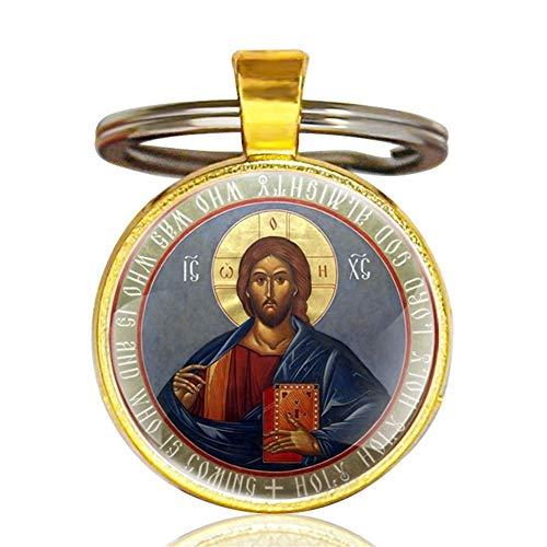 King Boutiques Vintage Klassische orthodoxe Christentum Kunst Glas Cabochon Schlüsselanhänger Klassische Männer Frauen Silber Schlüsselanhänger handgemachte Schlüsselanhänger Geschenke (Color : Gold)