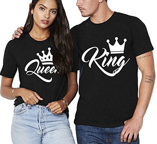 Partner Pärchen King & Queen Herren + Damen T-Shirt Set - Herren M, Damen S, Schwarz