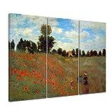Bilderdepot24 Kunstdruck - Alte Meister - Claude Monet - Mohnfeld Bei Argenteuil - 120x80cm dreiteilig - Leinwandbilder - Bilder als Leinwanddruck - Bild auf Leinwand - Wandbild