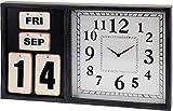 Große MDF Holz Wanduhr Ewiger Kalender Datum Zeit Used Shabby Chic