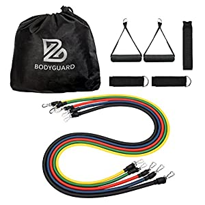 Bodyguard Exercise Band Sets, Resistance Tube - 5 Color Latex Workout Set with Soft Foam Handles, Door Anchor, Ankle Straps - Great for Home Gym, Travel Fitness, Yoga, Pilates, Building Muscle - Total 100lbs