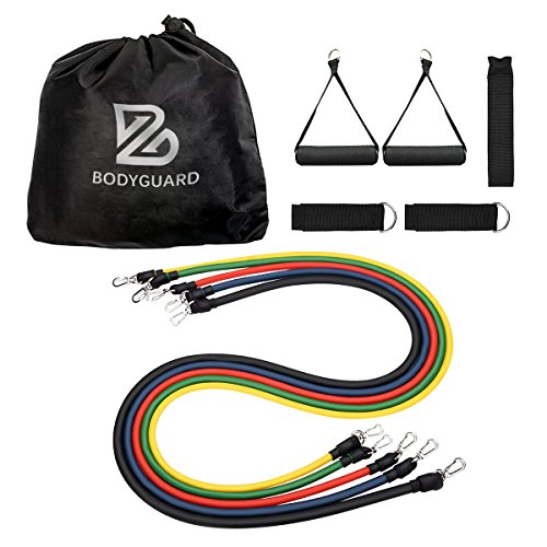 Bodyguard Exercise Band Sets, Resistance Tube – 5 Color Latex Workout Set with Soft Foam Handles, Door Anchor, Ankle Straps – Great for Home Gym, Travel Fitness, Yoga, Pilates, Building Muscle – Total 100lbs