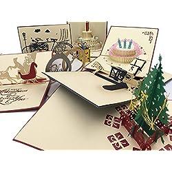Pack de 8 Postales Espectaculares Bonitas y Originales con Diseños 3D en el Interior. Perfectas para Regalo.