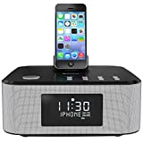 AZATOM Homehub Lightning Dock Alarm Clock Radio 30W Bluetooth for iPhone X, 8, 8 plus, 7plus, 7, 6s, 6, 5s, 5, SE Nano 7G, Touch 6G 5G , iPad mini and iPads, Black