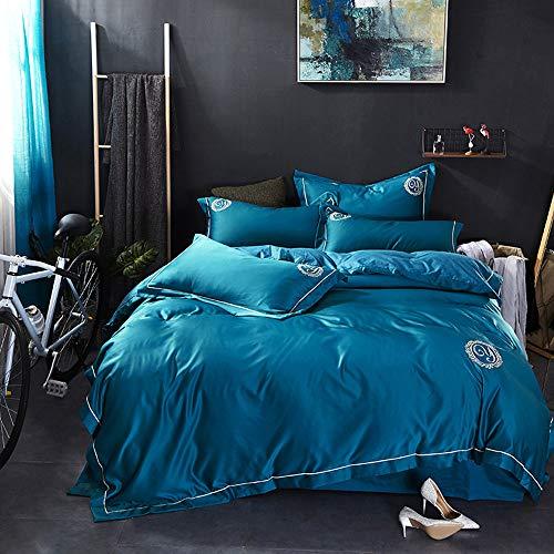 CPDZ 4-teilig Bedruckte Königin, Bettbezug-Set mit 2 Kopfkissenbezug-Bettwäsche Bettbezug 4-teiliges Set Rosa (weiß), Druck, Stickerei - König,Blue,XL (Bettwäsche-daunendecke-abdeckung)