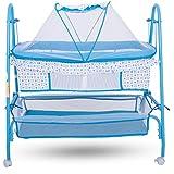 Baybee Comfort Cradle Cot - New Born Baby Swing Cradle With Mosquito Net & Wheel (Blue)
