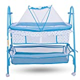#8: Baybee Comfort Cradle Cot - New Born Baby Swing Cradle with Mosquito Net & Wheel (Blue)