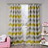 Duck River Textil Chevron Verdunkelung Abdunkelung Fenster Vorhang Set von 2Panels, grau und gelb weiß, 78x 84