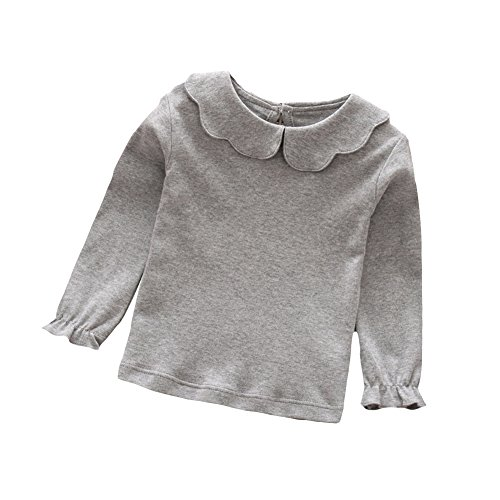 tangbasi® Puppe Halsband Kleinkinder Baby Mädchen Lange Ärmel T-Shirts Spring Peter Pan Kragen Jumper Tops Sweatshirt grau 100 cm (Peter-pan-kragen-bluse Mädchen)