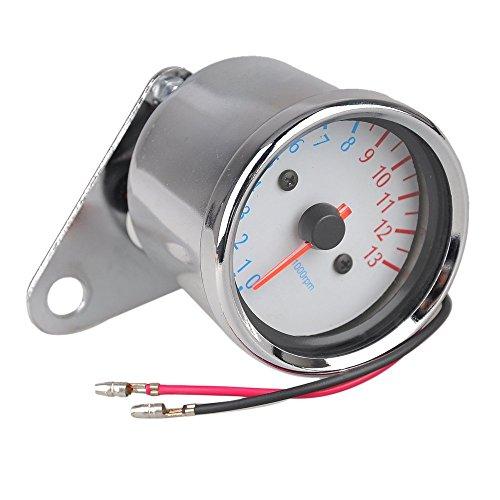 TOOGOO(R) Motorrad Silber Metall Drehzahlmesser Geschwindigkeitsmesser Tachometer Massstab Blau Hintergrundbeleuchtung