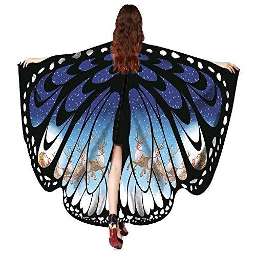 OIKAY Damen Weihnachten Schmetterlingsflügel Schal Schal Poncho Kostüm Zubehör(Blau,168 * 136CM) (Orange Katze Kostüm Kind)