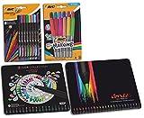 Set di diverse penne colorate, matite, pennarelli e penne a fibra Bic,confezione da 64 (8 penne a punta fine + 12 pennarelli permanenti + 20 penne da colorare + 24 corde di colore)