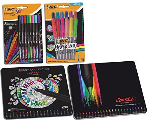 Paquete BIC de bolígrafos para colorear, lápices, rotuladores y rotuladores de punta fina, 64 piezas