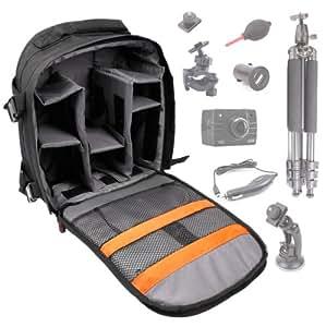Sac à dos noir de protection résistant à l'eau DURAGADGET pour caméscopes compacts PNJ Cam AEE SD18, SD19, AEE SD21, AEE SD23/23G Naked, SD1000 et S71 et ses accessoires - avec compartiments de rangement