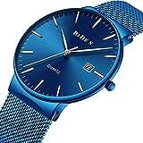 Herren Armbanduhr Klassisch Minimalistische Ultradünne Blau Quarzuhr