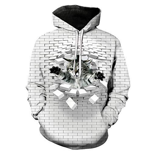 Cat Hip Hop Kostüm - MEN.CLOTHING-LEE Unisex 3D Hoodie Neuheit Personalisiertes Sweatshirt Kapuzen-Stretch-Hoodie Broken Wall cat 3XL