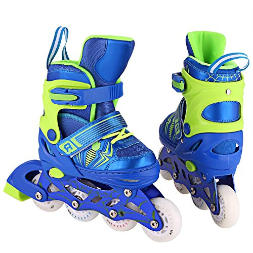 Acecoree Inline Skate Kinder mit leuchtenden Rollen, Verstellbare Inline Skates & Kinder Schlittschuh, Rollschuhe in Größen 31-42 für Junge Mädchen,4 Farben...