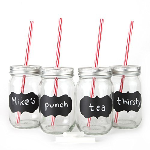 Chalkboard Mason Jar Mugs with Tin Lid, Plastic Straws and Chalk. 16 Oz. Each. Old Fashion Drinking Glasses -. By Lily's Home by Lily's Home