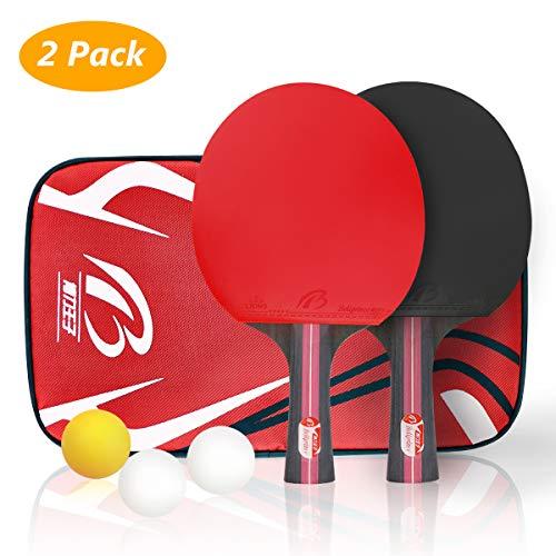 Tischtennis-Set, Tencoz Tischtennisschläger Tischtennis Schläger Ping-Pong-Set Trainings Tischtennis Schläger Set 2 Premium Tischtennis-Schläger + 3 Tischtennis-Bälle + 1 Tragbare Tasche