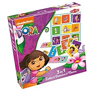 Tactic Dora 3 in 1 Lotto/Memo/Domino Tile-Based Board Game - Juego de Tablero (Children & Adults, Niño/niña, Interior, Tile-Based Board Game)
