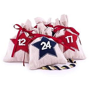 Adventskalender zum Befüllen Star 24 Stoffbeutel Geschenksäckchen Weihnachten mit Zahlen, Weihnachtskalender DIY von pajoma