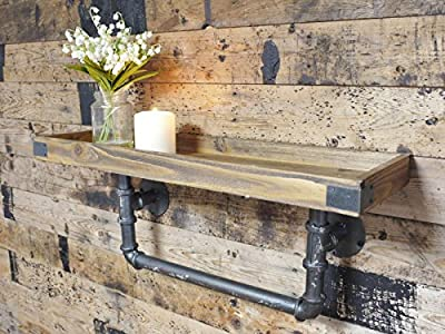 Urban Industrial Style Chunky Wood Wall Shelf with Iron Pipe Wall Bracket Width 60cm - low-cost UK light shop.