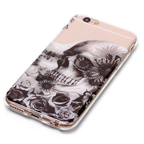 Cover iPhone 6 Plus/6S Plus, GrandEver Morbida Trasparente Ultra Slim Gel Silicone TPU Custodia Protettiva Back Shell Case per iPhone 6 Plus/6S Plus - Piuma Cranio